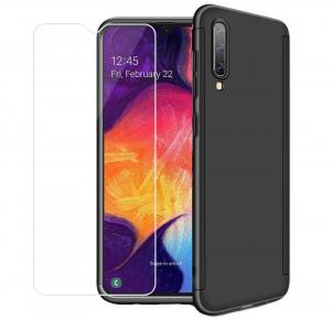 Husa Full Cover 360 + folie sticla pentru Samsung Galaxy A70, Negru0