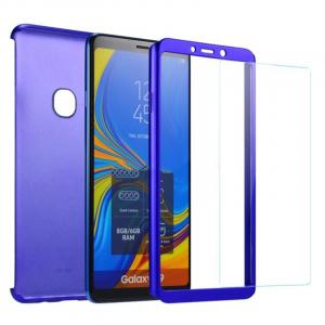 Husa Full Cover 360 + folie sticla pentru Samsung Galaxy A9 (2018), Albastru1