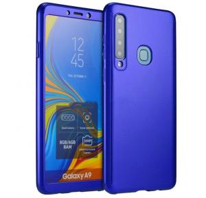 Husa Full Cover 360 + folie sticla pentru Samsung Galaxy A9 (2018), Albastru0