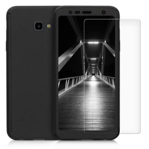 Husa Full Cover 360 + folie sticla pentru Samsung Galaxy J4 Plus (2018), Negru0