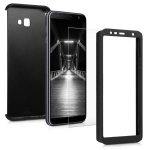 Husa Full Cover 360 + folie sticla pentru Samsung Galaxy J4 Plus (2018), Negru1