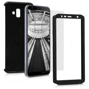 Husa Full Cover 360 + folie sticla pentru Samsung Galaxy J6 Plus (2018), Negru1