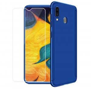 Husa Full Cover 360 + folie sticla pentru Samsung Galaxy M20, Albastru0