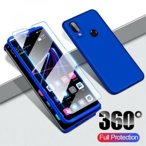 Husa Full Cover 360 + folie sticla pentru Samsung Galaxy M20, Albastru1