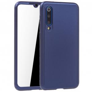 Husa Full Cover 360 + folie sticla pentru Xiaomi Mi 9 SE, Albastru0