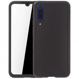 Husa Full Cover 360 + folie sticla pentru Xiaomi Mi 9 SE, Negru0