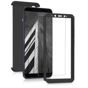 Husa Full Cover 360 + folie sticla pentru Xiaomi Mi A2, Negru1
