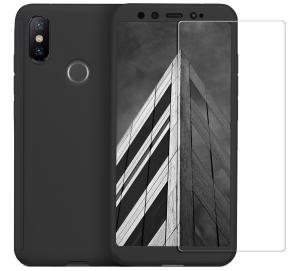 Husa Full Cover 360 + folie sticla pentru Xiaomi Mi A2, Negru0