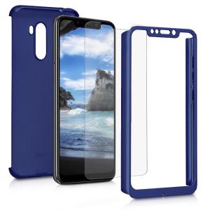 Husa Full Cover 360 + folie sticla pentru Xiaomi Pocophone F1, Albastru1