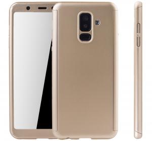 Husa Full Cover 360 + folie sticla Samsung Galaxy A6+ (2018), Gold1