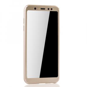 Husa Full Cover 360 + folie sticla Samsung Galaxy A6+ (2018), Gold2