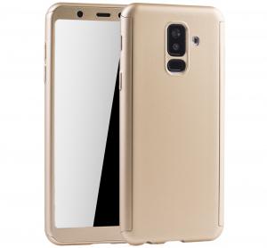 Husa Full Cover 360 + folie sticla Samsung Galaxy A6+ (2018), Gold0