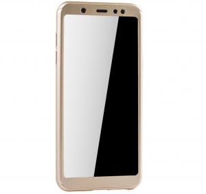 Husa Full Cover 360 + folie sticla Samsung Galaxy A6 (2018), Gold1