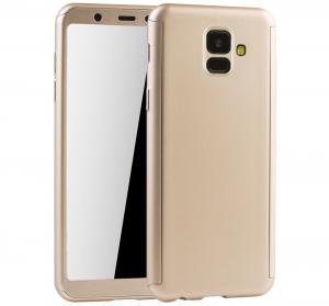 Husa Full Cover 360 + folie sticla Samsung Galaxy A6 (2018), Gold0