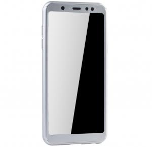 Husa Full Cover 360 + folie sticla Samsung Galaxy A6+ (2018), Silver1