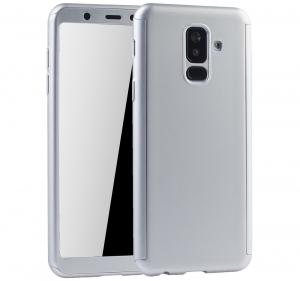 Husa Full Cover 360 + folie sticla Samsung Galaxy A6+ (2018), Silver0