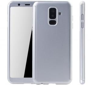 Husa Full Cover 360 + folie sticla Samsung Galaxy A6+ (2018), Silver3