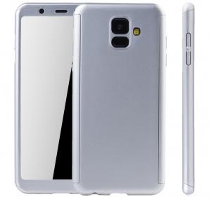 Husa Full Cover 360 + folie sticla Samsung Galaxy A6 (2018), Silver1