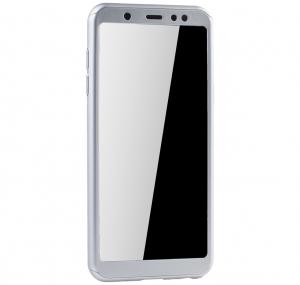 Husa Full Cover 360 + folie sticla Samsung Galaxy A6 (2018), Silver2