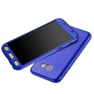 Husa Full Cover 360 + folie sticla Samsung Galaxy A7 (2017), Albastru2