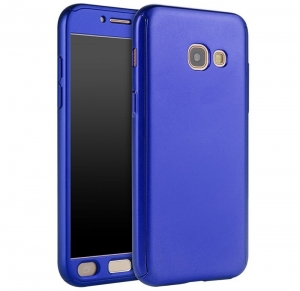 Husa Full Cover 360 + folie sticla Samsung Galaxy A7 (2017), Albastru0