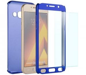 Husa Full Cover 360 + folie sticla Samsung Galaxy A7 (2017), Albastru1