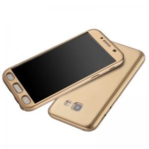 Husa Full Cover 360 + folie sticla Samsung Galaxy A7 (2017), Gold2