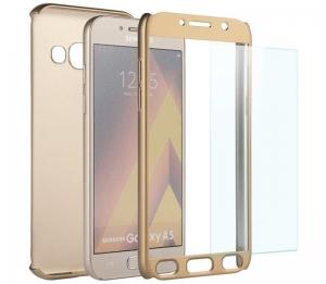 Husa Full Cover 360 + folie sticla Samsung Galaxy A7 (2017), Gold1