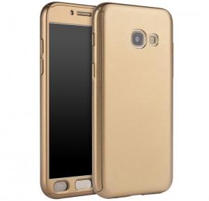 Husa Full Cover 360 + folie sticla Samsung Galaxy A7 (2017), Gold0