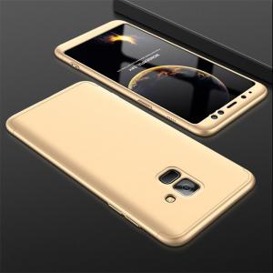 Husa Full Cover 360 + folie sticla Samsung Galaxy A8 Plus (2018), Gold1