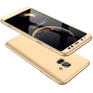 Husa Full Cover 360 + folie sticla Samsung Galaxy A8 Plus (2018), Gold0