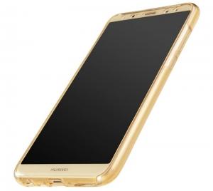 Husa Full TPU 360 fata spate Huawei Mate 10 Lite, Gold Transparent2
