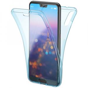 Husa Full TPU 360 fata + spate Huawei P20, Albastru transparent0