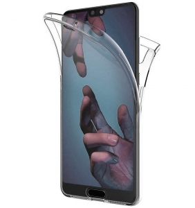 Husa Full TPU 360 fata + spate Huawei P20, Gri Transparent0
