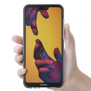 Husa Full TPU 360 fata + spate Huawei P20 Lite, Gri Transparent3