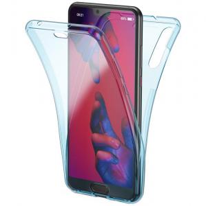 Husa Full TPU 360 fata + spate Huawei P20 Pro, Albastru transparent0