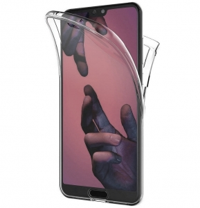Husa Full TPU 360 fata + spate Huawei P20 Pro, Gri Transparent1