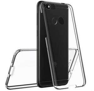 Husa Full TPU 360 fata spate Huawei P9 Lite Mini 2017, Gri transparent3