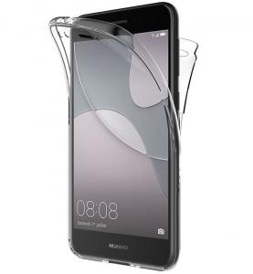 Husa Full TPU 360 fata spate Huawei P9 Lite Mini 2017, Gri transparent0