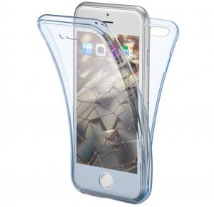 Husa Full TPU 360 fata + spate iPhone 6 / 6S, Albastru transparent0
