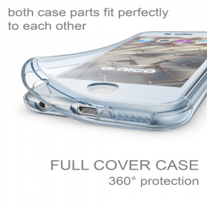 Husa Full TPU 360 fata + spate iPhone 6 / 6S, Albastru transparent1