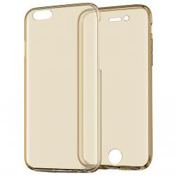 Husa Full TPU 360 (fata + spate) iPhone 8, Gold Transparent1