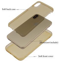 Husa Full TPU 360 (fata + spate) iPhone X, Gold Transparent [1]