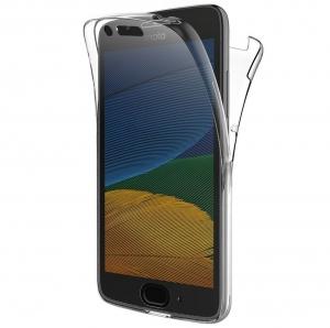 Husa Full TPU 360 fata + spate Motorola Moto G5, Gri Transparent0