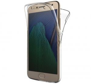 Husa Full TPU 360 fata + spate Motorola Moto G5 Plus, Gri Transparent0