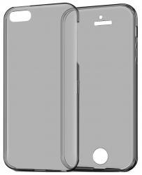Husa Full TPU 360 (fata + spate) pentru Apple iPhone 5 / 5S / SE, Gri Transparent [2]