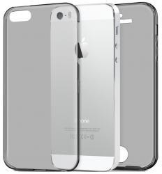 Husa Full TPU 360 (fata + spate) pentru Apple iPhone 5 / 5S / SE, Gri Transparent [0]