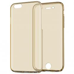 Husa Full TPU 360 (fata + spate) pentru Apple iPhone 6 / 6S, Gold Transparent [2]