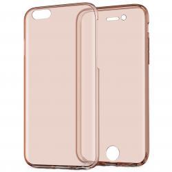 Husa Full TPU 360 (fata + spate) pentru Apple iPhone 7, Rose Gold Transparent2
