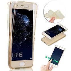 Husa Full TPU 360 (fata + spate) pentru Huawei P10 Plus, Gold Transparent1